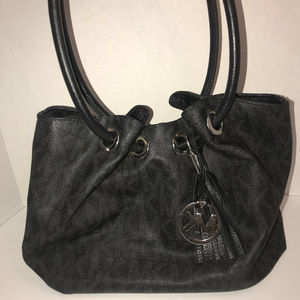 Michael Kors Black Leather Ring Tote Bag Leather